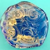 """Occhi della dea """"Madre terra"""" vetro acquamarina oro zecchino Murano Venezia"""