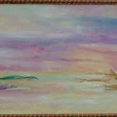 """""""Laguna al tramonto"""". Composizione Vetro e olio Murano-Venezia"""