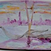 Bacino San Marco Olio e vetro ambra Murano Venezia